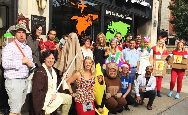 teachers and students celebrate Halloween