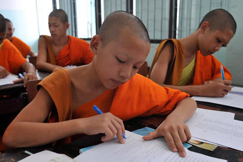Teach English to monk kids