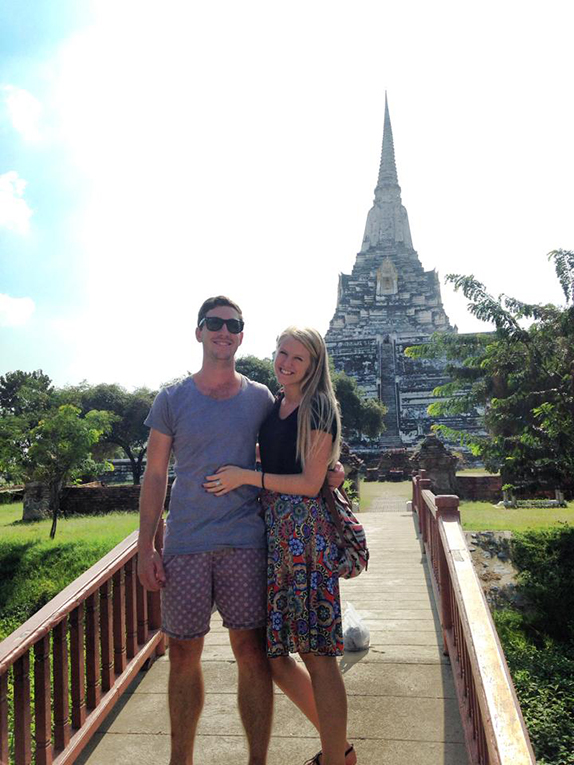 Couple in front of a temple in Ayutthaya, Thailand