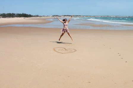 Jumping shot on a beach in Mozambique