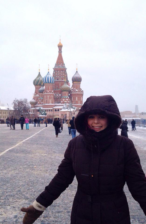 Tourist at St. Basils Cathedral in Moscow, Russia