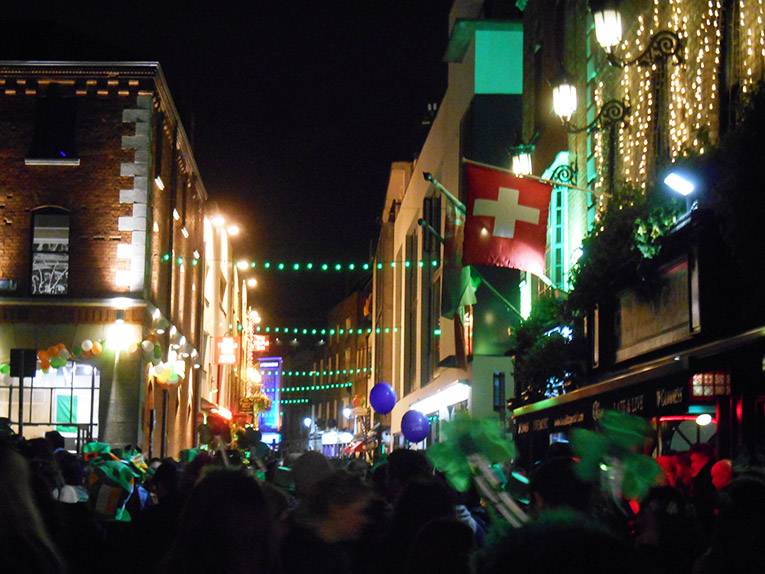 Temple Bar in Dublin, Ireland on St. Patrick's Day