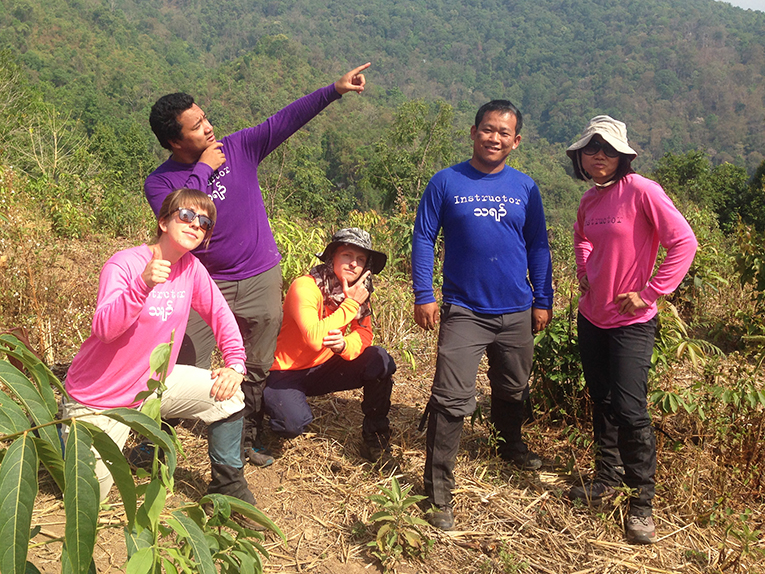 ISDSI field staff in a rice field in Mae Hong Son, Thailand