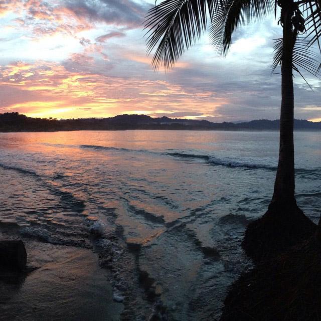 Sunset over the Caribbean coast of Puerto Viejo, Costa Rica
