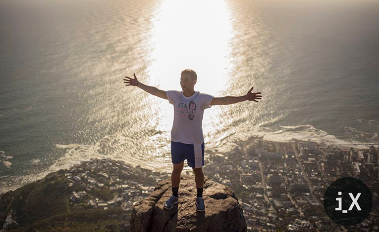 At the top of Lions Head overlooking Cape Town, South Africa
