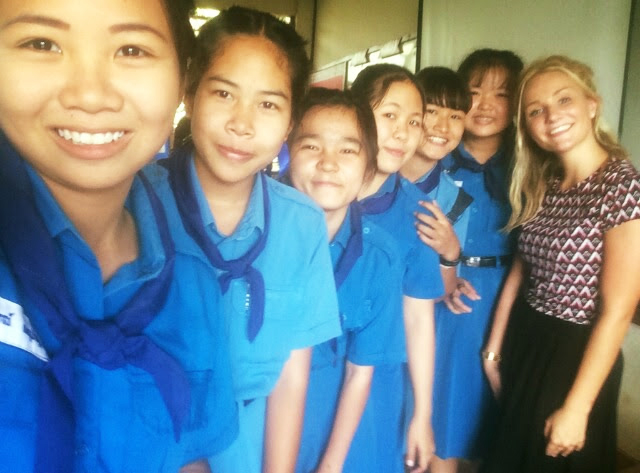 International teacher with Thai students in Koh Samui, Thailand