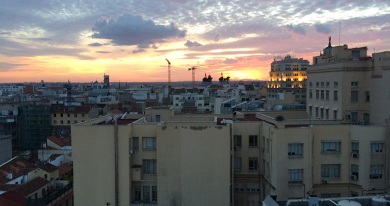 Sunset view of a neighborhood in Madrid
