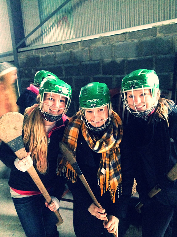 Students learning to play Hurling at Causey Farm in Ireland