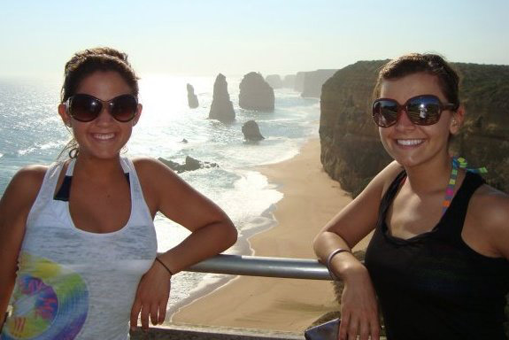 Study abroad students at 12 Apostles in Australia.