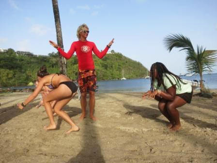 Tourists on a beach in the Grenadines