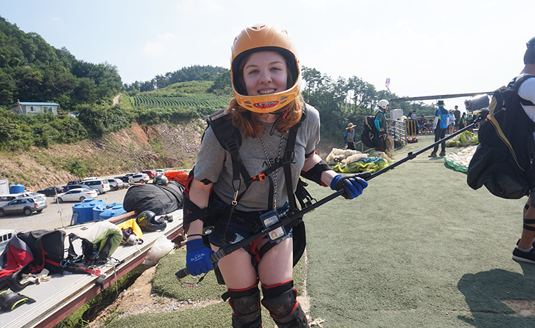 A woman getting ready to paraglide in Danyang, South Korea