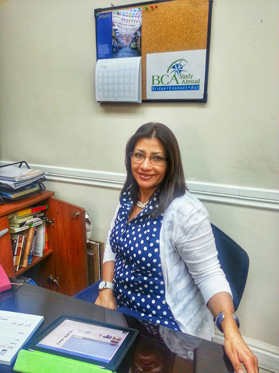 Martha Perez in office at Universidad San Francisco de Quito in Ecuador