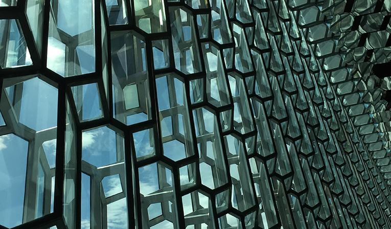 Windows at the Harpa Music Center in Reykjavik, Iceland