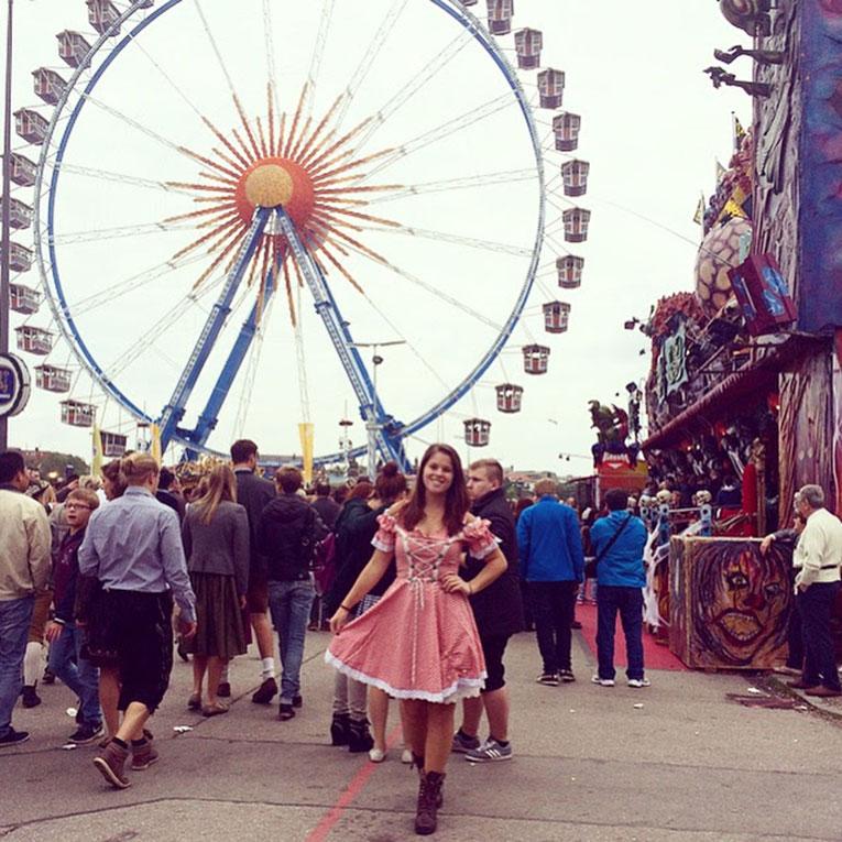 Girl dressed for Oktoberfest in Munich, Germany