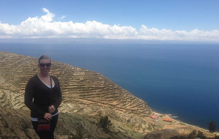 The Isla del Sol in the middle of Lake Titicaca in Peru
