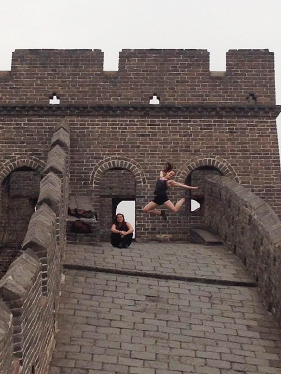 Jumping shot on the Great Wall of China