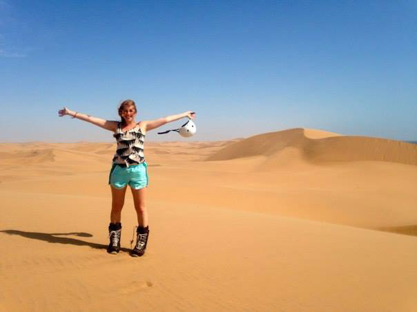 Sandboarding in the desert in Swakopmund, Namibia