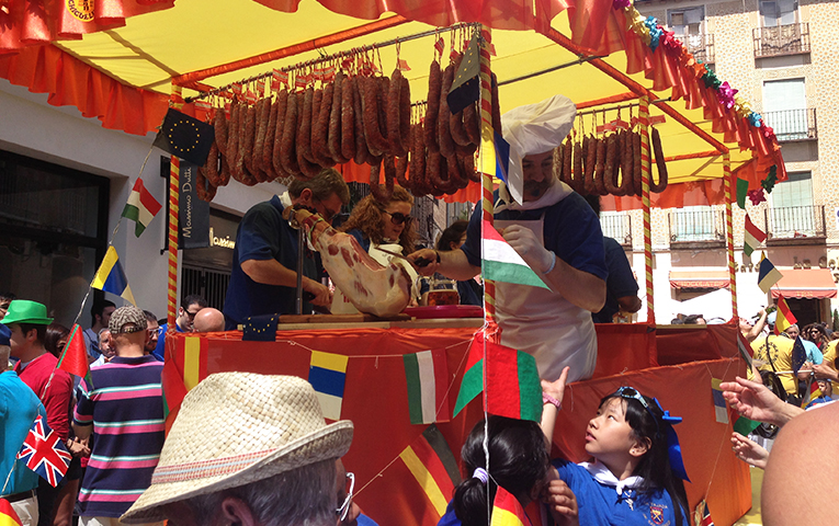 Meat stand at Patron Saint celebration in Segovia, Spain