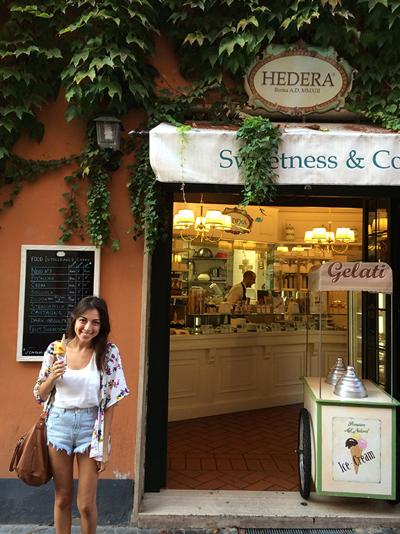 Eating gelato at Hedera in Rome, Italy