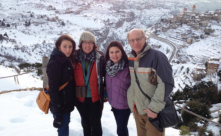 Tourists in Bcharre, Lebanon