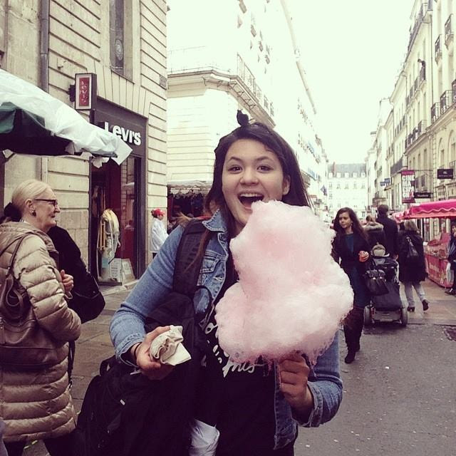 Eating cotton candy in Nantes, France