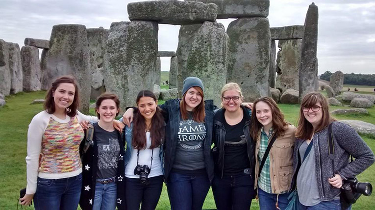 Study abroad students at Stonehenge in England