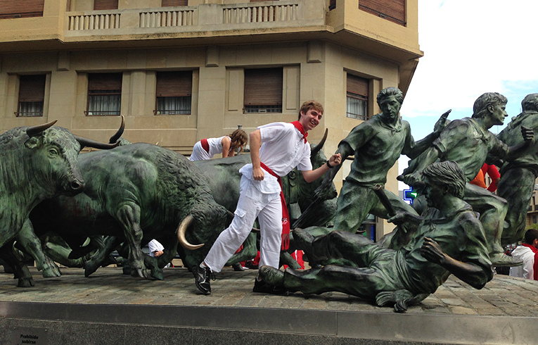 The Running of the Bulls statue in Pamplona, Spain
