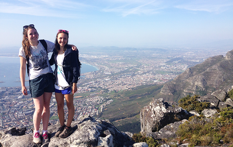 Hiking near the peak of Table Mountain in Cape Town, South Africa