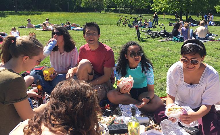 Friends having a picnic in Brussels, Belgium