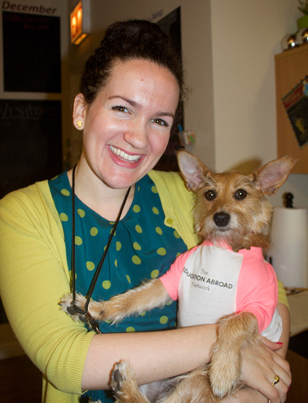 The Education Abroad Network Staff with mascot dog