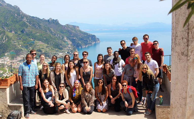 Study abroad students at the Amalfi Coast, Italy