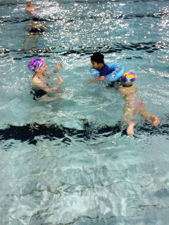 Swimming class in China