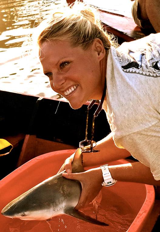 Bull shark pup in the Navua River in Fiji