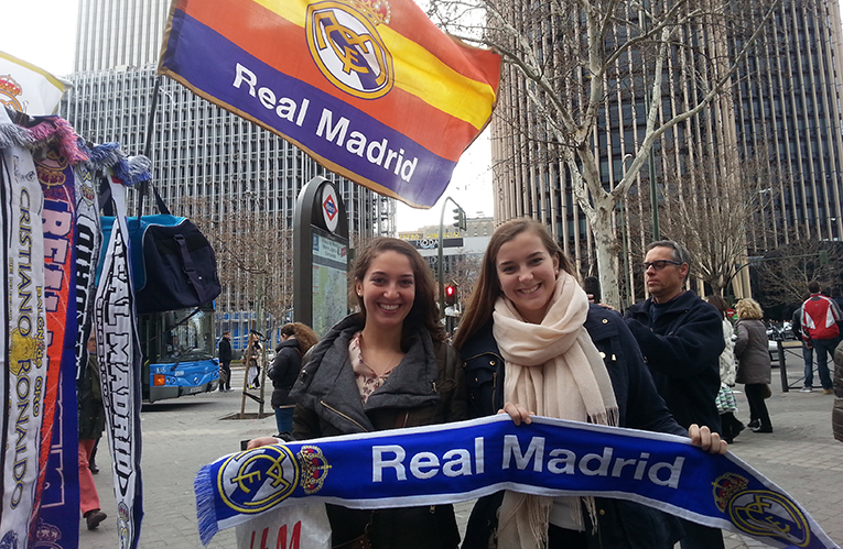 Real Madrid flags on a street in Madrid, Spain
