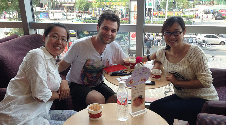 Friends at a coffee shop in China
