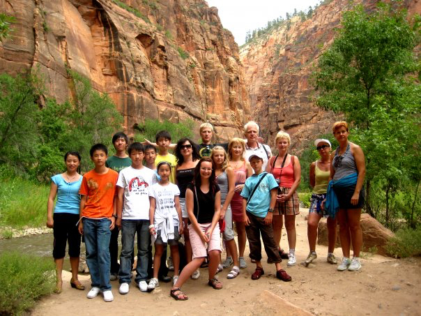Students visiting Zion National Park in Utah