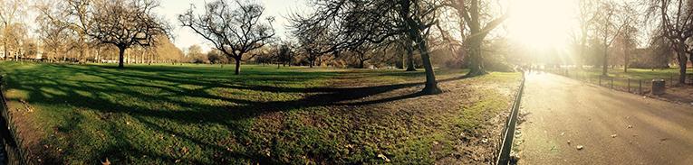 Sunny park in London, England