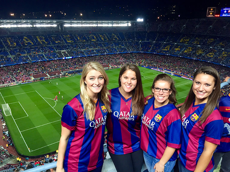 American fans at an FC Barcelona Game