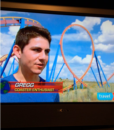 The airing of the premiere of season 3 of Travel Channels Insane Coaster Wars. Gregg was casted in interviews and on-ride roller coaster footage at Parque Warner in Madrid, Spain.