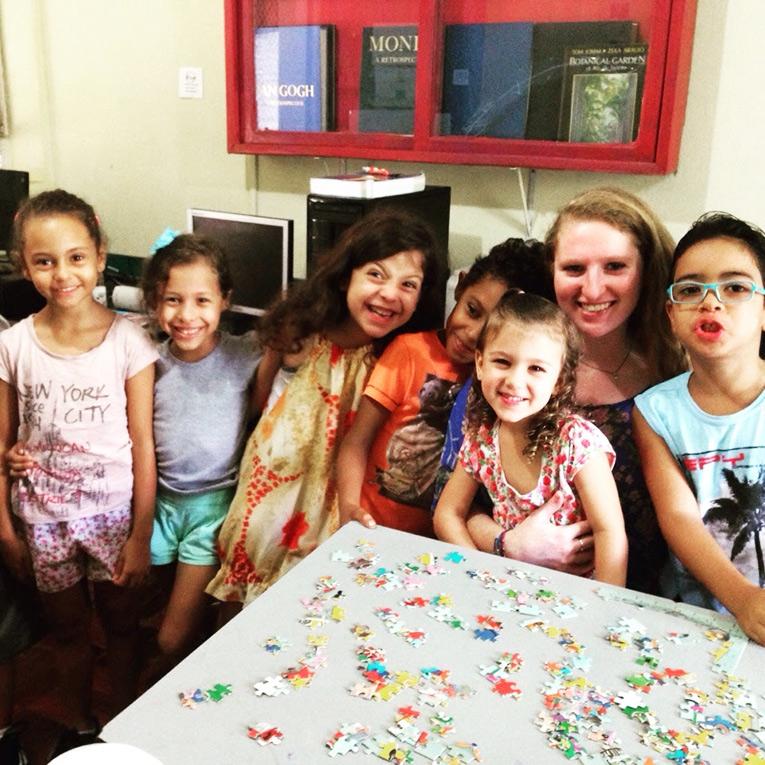 Volunteer with children in Brazil