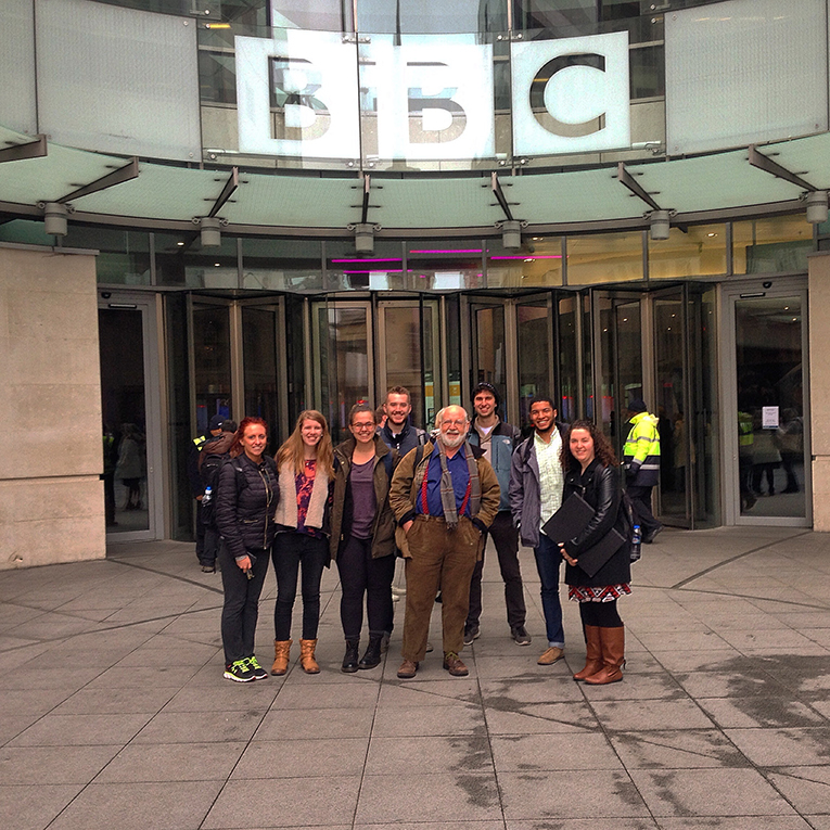 Students in front of BBC News Center in England