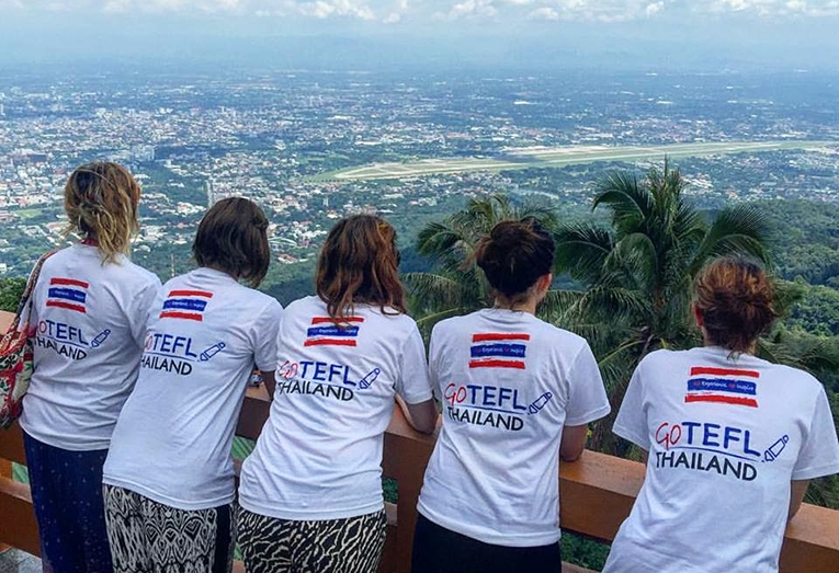 Go TEFL Thailand participants overlooking the city of Chiang Mai, Thailand