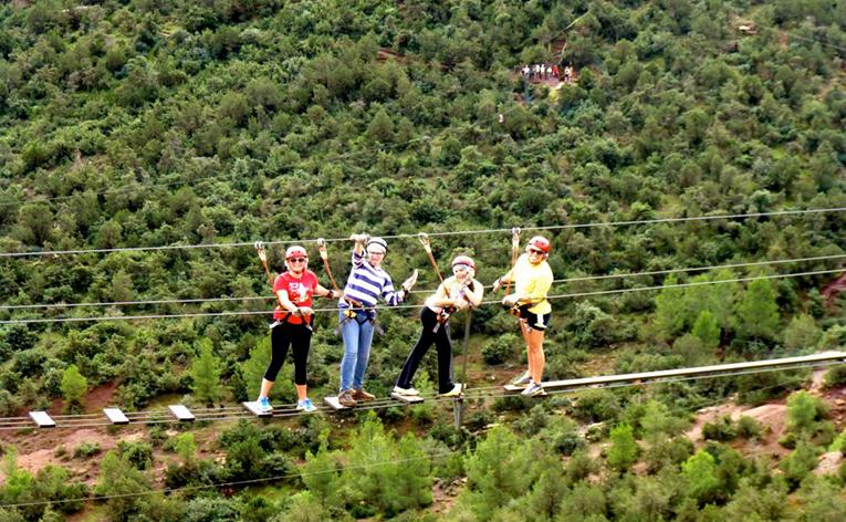 Zip lining in Spain