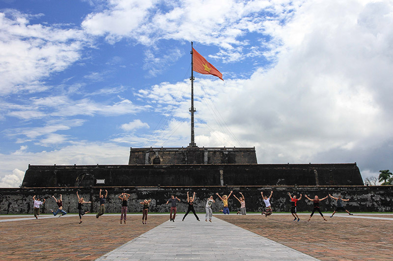 Volunteers outside the Citadel in Hue, Vietnam