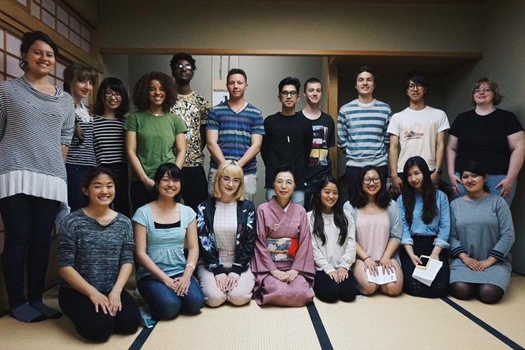 Students at a Japanese tea ceremony at Kanda University