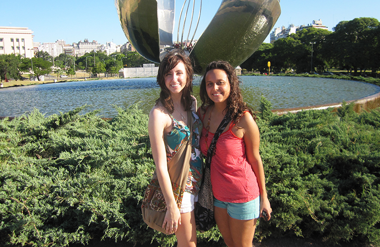 Girls at Floralis Genérica in Buenos Aires, Argentina