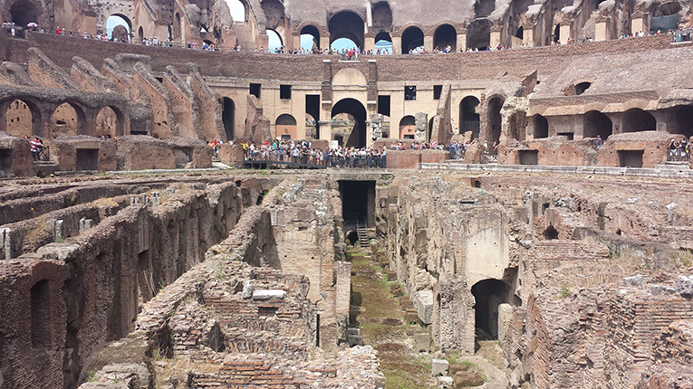 Inside the Colosseum in Rome, Italy