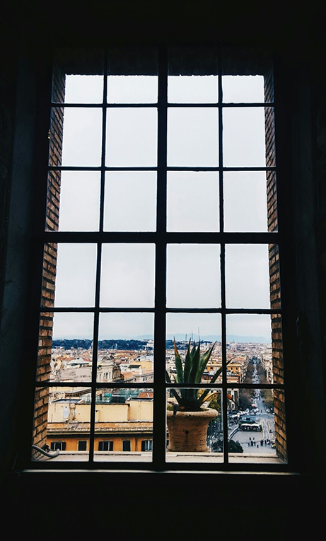View of Rome through an apartment window