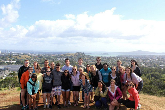 Study abroad students at One Tree Hill in New Zealand.