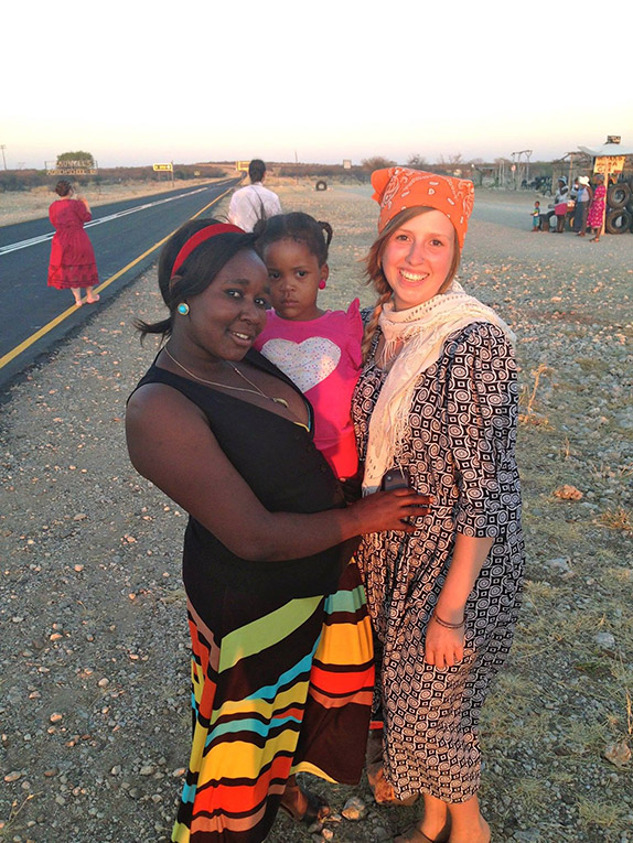 Study abroad student with local host family in northern Namibia